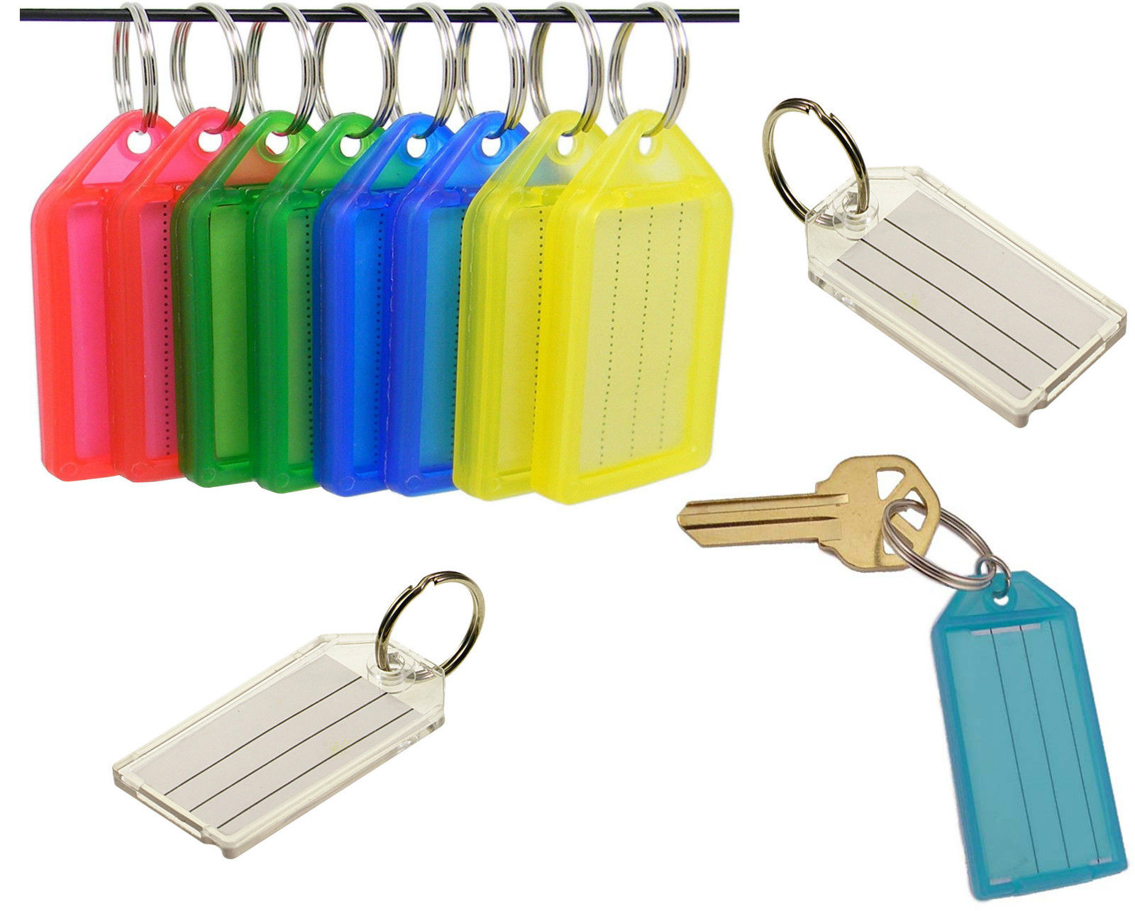 New Quality Large Id Key Ring Identifier Tag Marker Name Card Label ...
